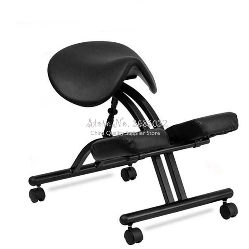 Leather Saddle Stool Ergonomical Designed Kneeling Chair Stool Office Knee Chair Ergonomic Correct Posture Chair Bearing 150kg