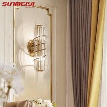 Wall-Lamps Light Bathroom-Mirror Murale Crystal Applique Bedroom Gold Living-Room Modern Led