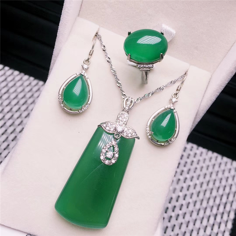 Jadery Fine Jewelry 925 Sterling Silver Jewelry Sets Natural Green Jade Necklace Earrings Ring Party Silver Jewelry Christmas