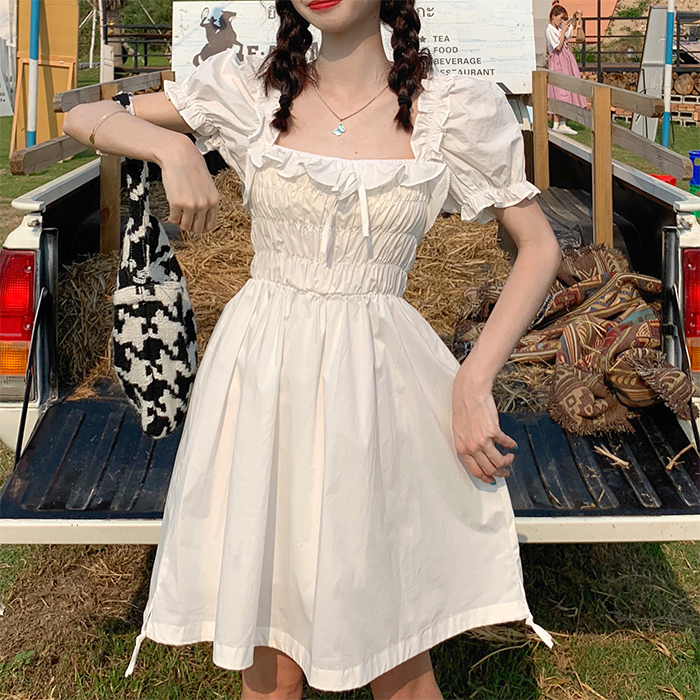 Korean Summer New Vintage Square Collar Dress Mori Girl Sweet Puff Sleeve Elastic Force Dress Elegant Folds Dress Woman Clothing