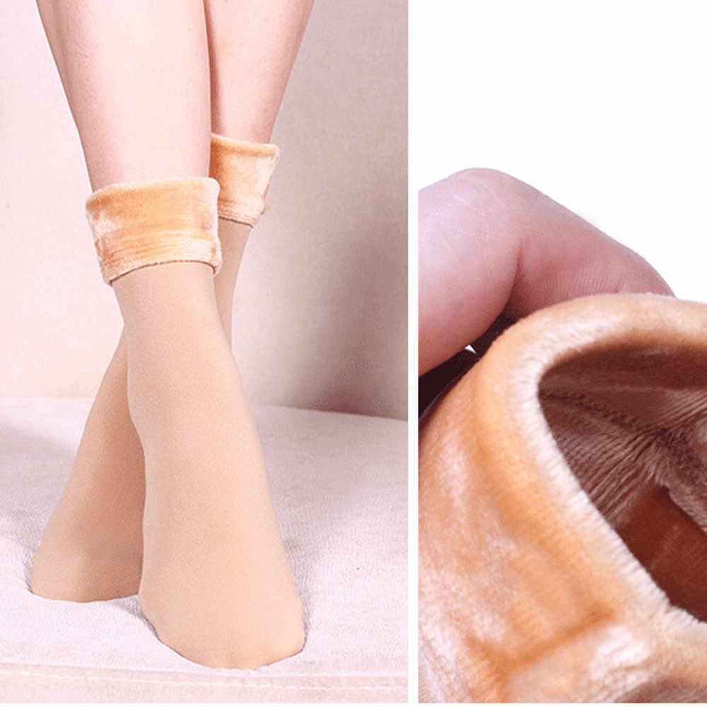1 çift Kadınlar Kış sıcak Kalınlaşmak Termal Yumuşak Rahat Düz Renk Çorap Yün Ev Kar Botları Kadife kat çorap # YL1