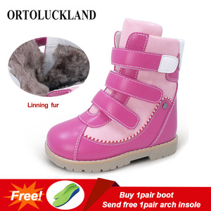 Image 1 - Ortoluckland Children Winter Shoes Orthopedic Boots Fur Leather Calf short Snow Boots For Girls Pink Warm Fashion Kids Shoes