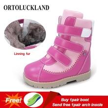 Ortoluckland çocuk kış ayakkabı ortopedik çizmeler kürk deri buzağı kısa kar botları kızlar için pembe sıcak moda çocuk ayakkabı