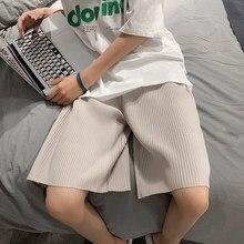 Verão shorts plissados moda masculina cor sólida solto shorts casuais homens streetwear selvagem coreano de cinco pontos calças dos homens S-3XL