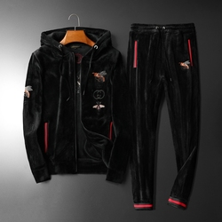 High-end Double-faced Velvet Casual Sports Suit 2019 Autumn And Winter New Men's Suit Warm Embroidery Trend Hoodie + Pants M-5XL