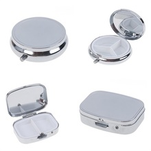 цена на Portable Durable Silver Metal Round Rectangle Pill Box Drug Holder 2/3 Cell Capsule Box Container Storage Medicine Tablet Travel