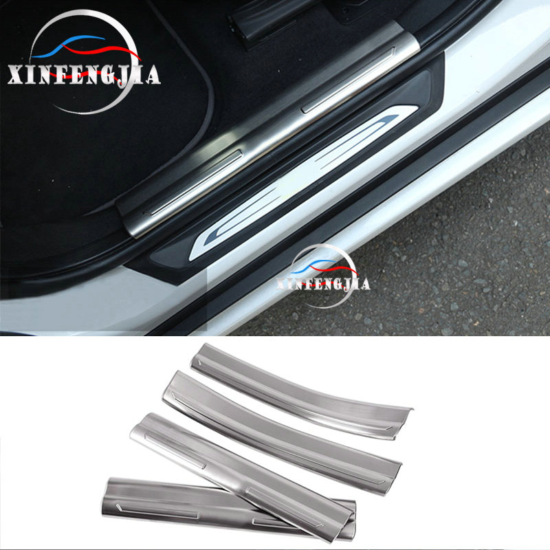 For BMW X1 F48 16-2019 4x Stainless Inside Door Sill Scuff Plate Cover Trim Pad