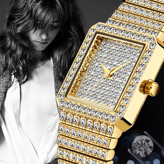 Diamond Watch For Women Luxury Brand Ladies Gold Square Watch Minimalist Analog Quartz Movt Unique Female Iced Out Watch 5