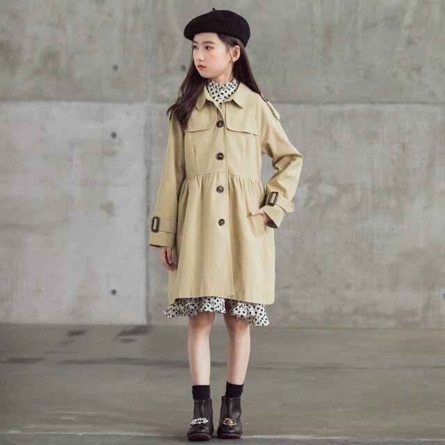6 à 18 ans enfants & adolescentes filles automne hiver kaki simple boutonnage trench veste enfant fille mode coton long manteau dextérieur