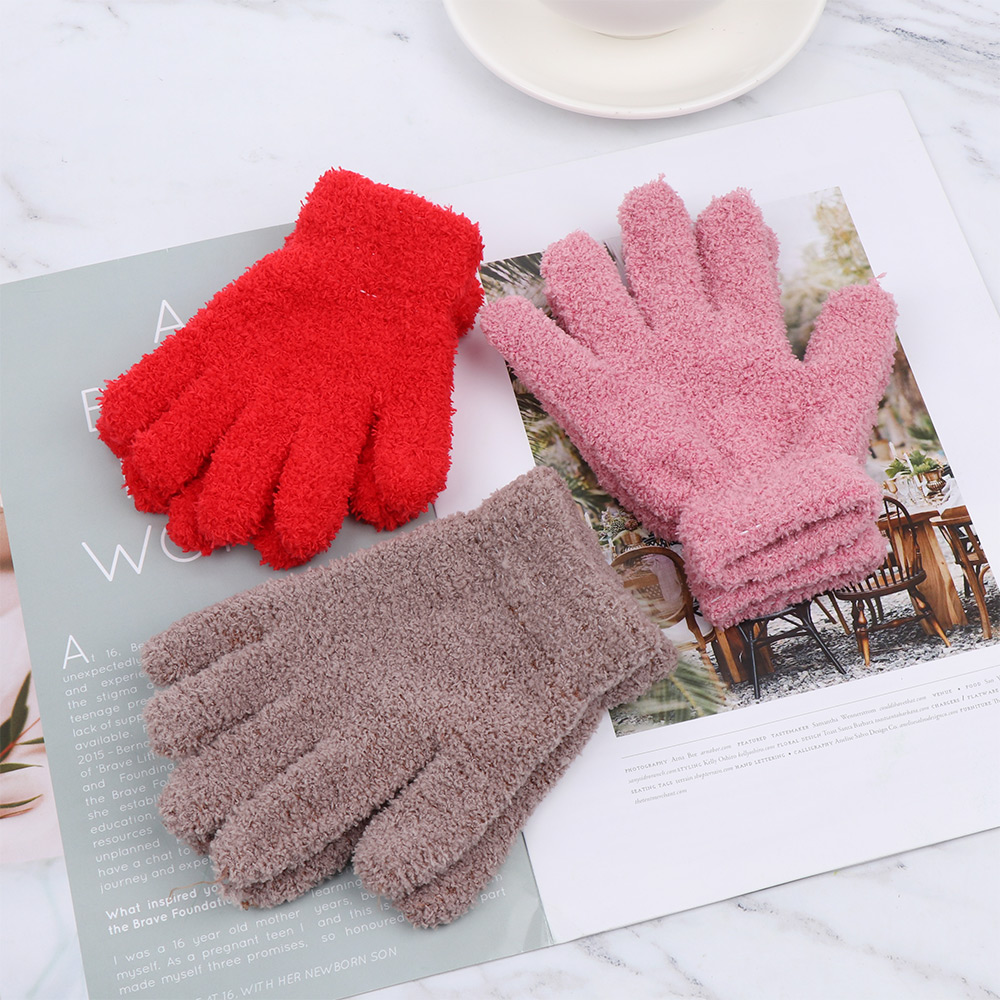 Soft Warm Cartoon Candy Color Coral Plush Mittens Full Fingers Kids Gloves