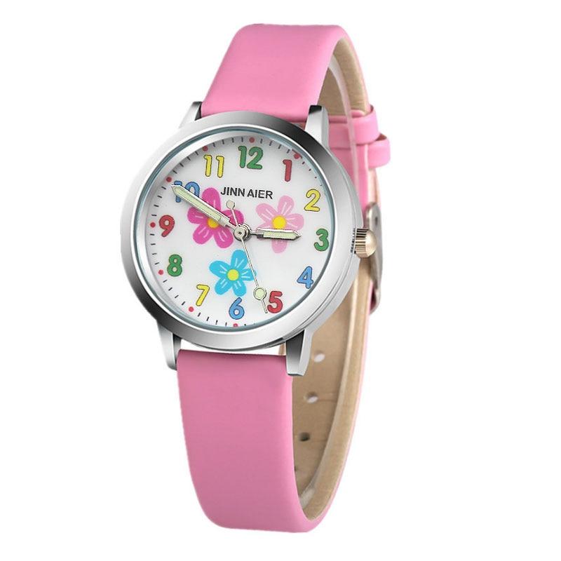 3D Flower Cartoon  Kids Watches Children's Watches For Girls Cartoon Baby Watch Leather Kids Watch Clock Saat Montre Enfant Relo