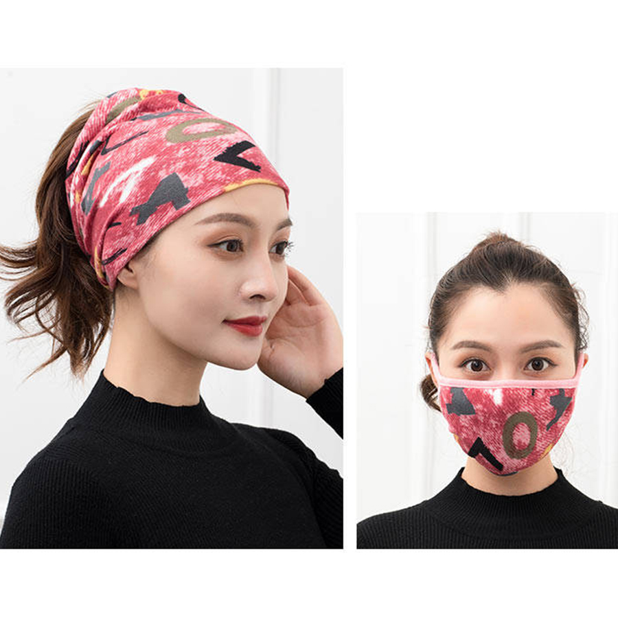 Fashion Print Cottton Headscarfs Face Mask Suits Women Winter Multifunction Scarves Casual Wild Dustproof Windproof Face Mask