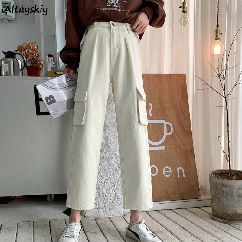 Jeans Women Cargo High Waist Solid Pockets Zipper Button Ankle-Length Straight Korean Chic New BF Harajuku Students Daily Womens