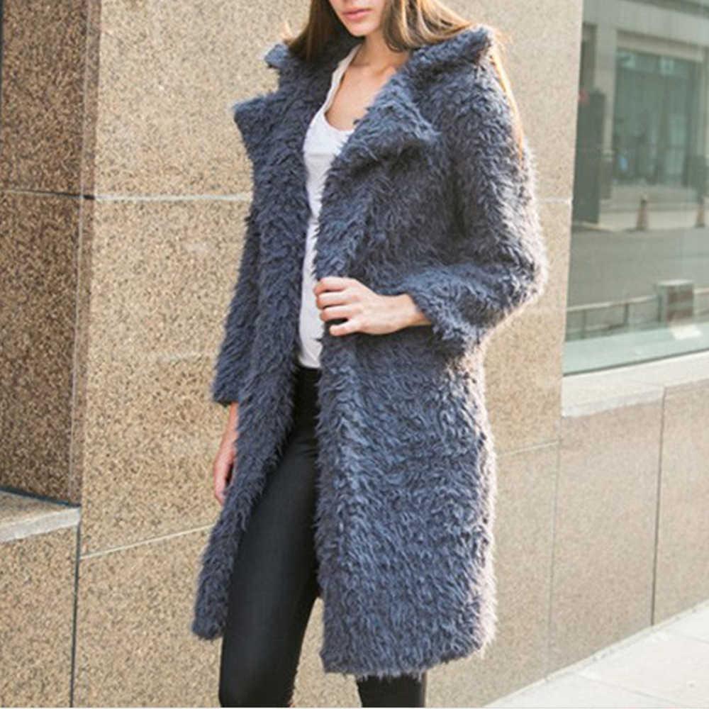Winter Long Teddy Bear Jacket Coat Women Turndown Collar Long Sleeve Thick Warm Lambswool Blend Plush Soft Faux Fur Outerwear