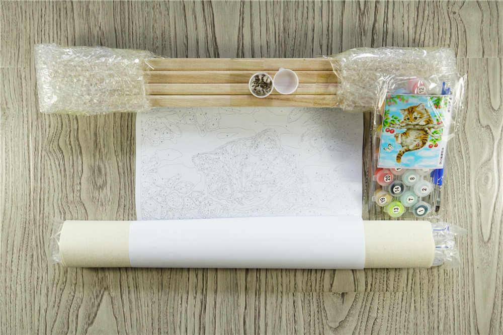 Картина по номерам DIY Озеро Лодка Милая пейзаж рисунок гостиная акриловые уникальные подарки льняной декор искусство 40x50 см