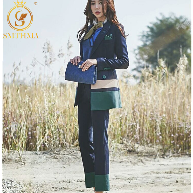 Women Spring Two Piece Set Office Suit  Autumn Double Breasted Long Jacket+Long Pant Suits Businness Work Wear Suits