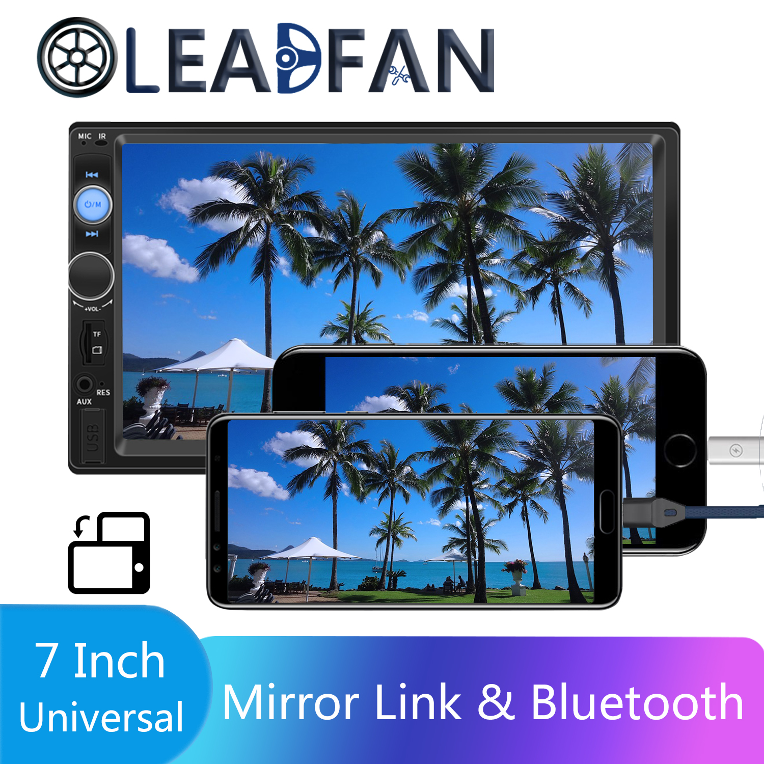 Leadfan Double Din Car Stereo Autoradio 2 Radio 7 HD Multimedia Player Touch Screen Auto Audio Bluetooth FM