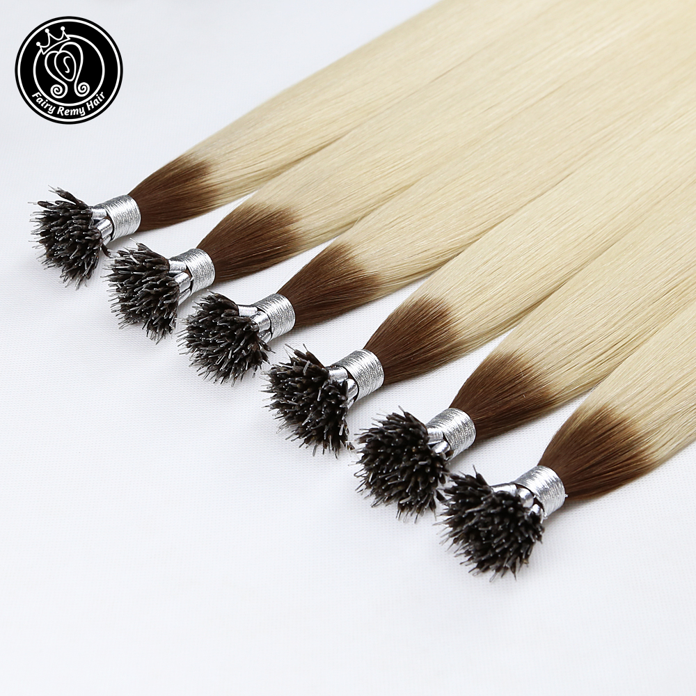 Nano Ring Human Hair Extensions Balayage Ombre Blonde Color #T6/60 16-20 Inch 0.8g/s Micro Beads Real Remy Human Hair 40g/pack