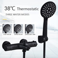 Senlesen Black Shower Faucet Digital Screen Valve Wall Mount Shower Head W/ Hand Para Bathroom Shower Sets