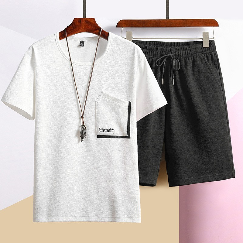 2020 Summer Mens Casual Sports Oversize Two Piece Sets Short Sleeve O-Neck Pullover T-Shirts Drawstring Waist Knee Length Shorts