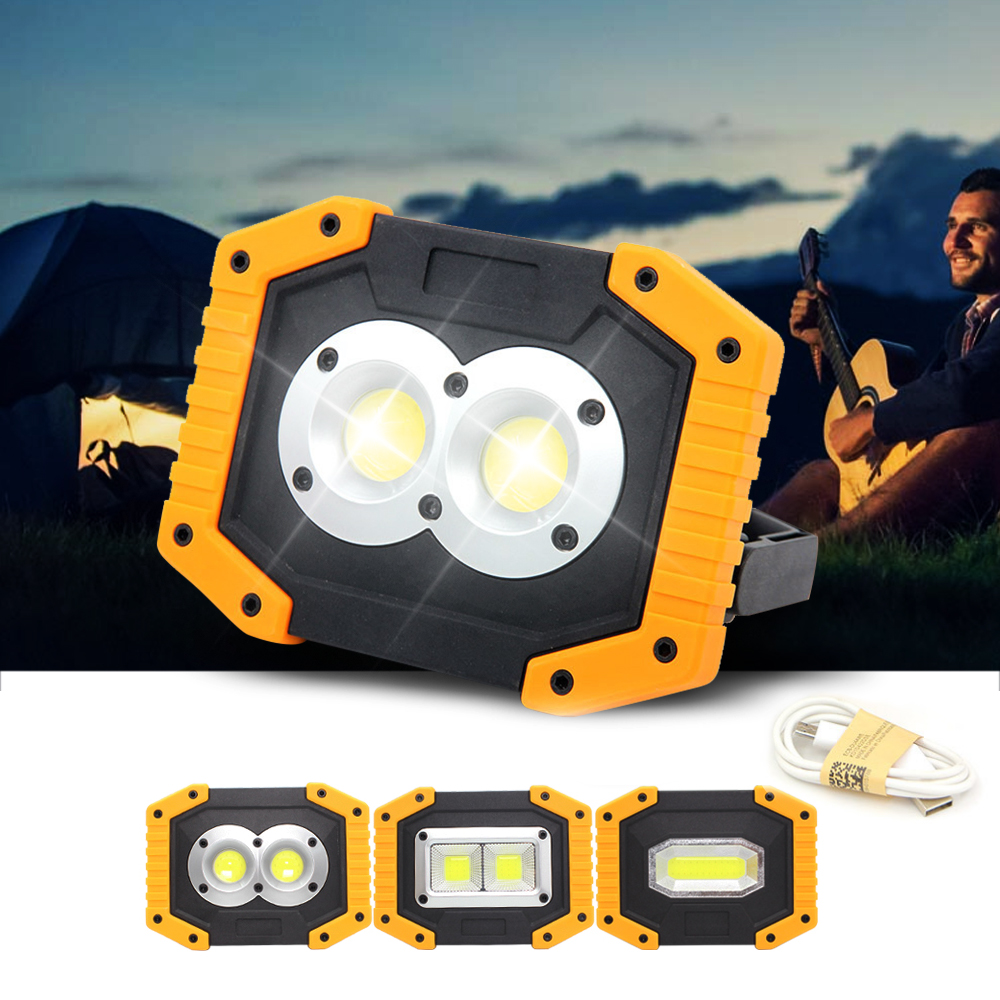 LED Portable Spotlights COB Camping Light 30W Outdoor Working Light Rechargeable Battery 3-Mode Portable Lanterns