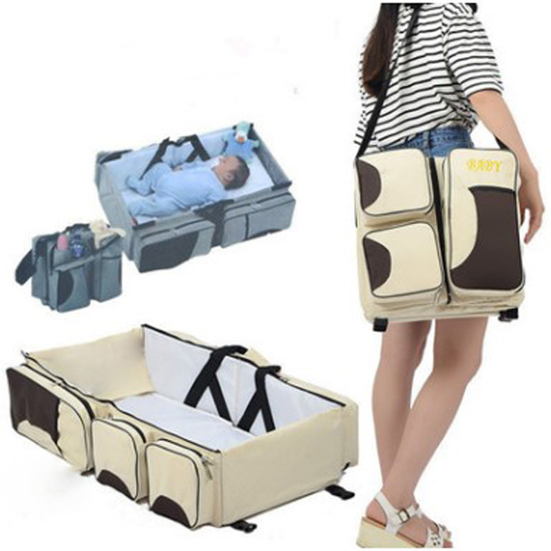 Foldable Crib Bag Portable Maternal And Child Package Multi-function Large Capacity Mummy Bag Out Of The Portable Travel Bed