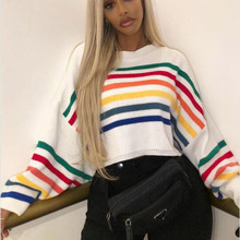 women t shirt long sleeves autumn and winter Fashion Women O-Neck Colourful Long Batwing Sleeve Patchwork Stripe Sweaters Top white botton back design stripe round neck long sleeves t shirt