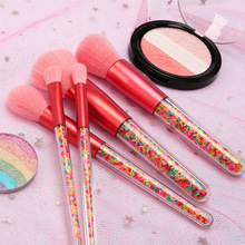 5 candy make-up brushes, color plastic particles, transparent handle, and wash set, beauty factory