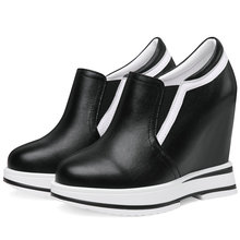 2019 Trainers Shoes Women Creepers Cow Leather Wedges Super High Heel Pumps Round Toe Platform Oxfords Casual Tennis