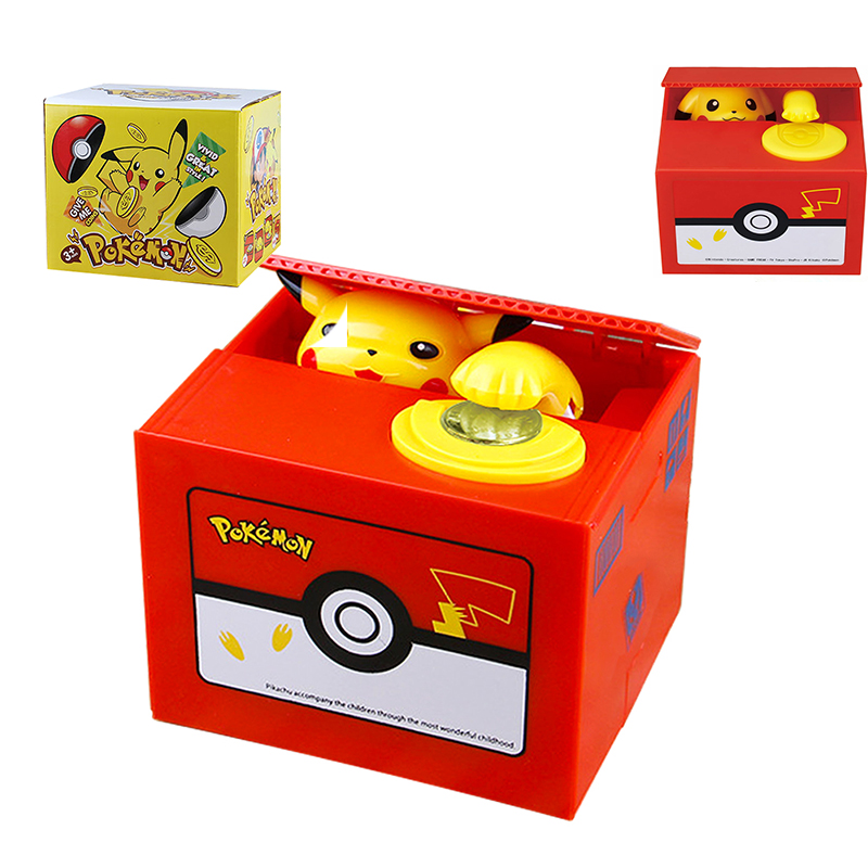 Pokemon Pikachu Bank Anime High Quality Electronic Money Box Steal Coin Money Safe Box Action Figure Banking Toys for Kid Gift