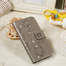 Embossed Bling Rehinestone  Flip Case for iPhone 11 Pro X XS Max Wallet PU Leather Tiger Cat For apple 6 6S 7 8 Plus