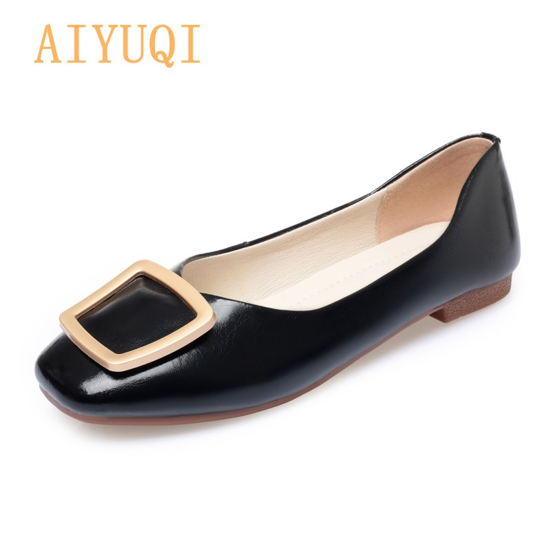 Ladie Shoes Genuine Leather 2021 Spring New Square Toe Commuter Shoes Women Large Size 41 42 43 Daily Black Buckle Loafers Women