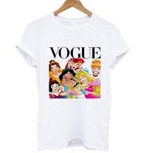 Летняя мода принцесса Белоснежка Ариэль Жасмин Алиса Золушка футболка Аврора повседневные топы Футболка для женщин леди девушки