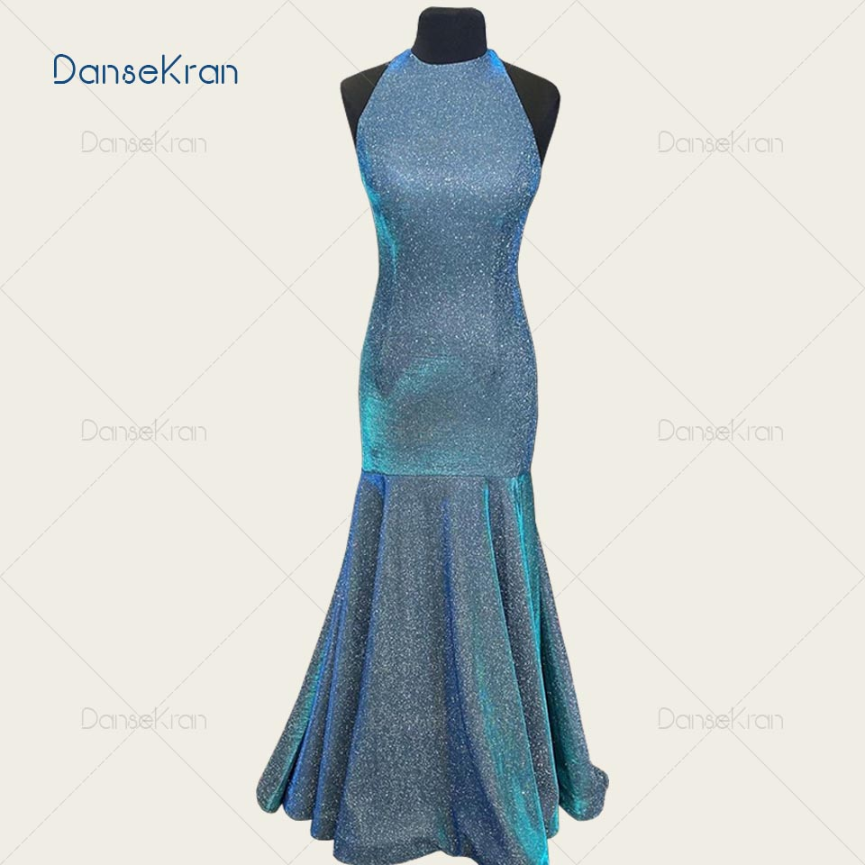 Shiny Halter Mermaid Evening Dresses 2021 Glittery Purple Prom Dress For Women Floor Length Formal Dresses Party Robe De Soirée