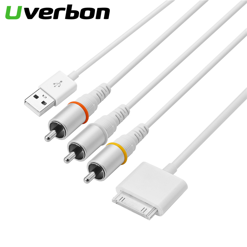 30 pin USB 2.0 <font><b>Dock</b></font> <font><b>Connector</b></font> to TV RCA Video Composite AV Cable Adapter for Apple iPad 2 3 for <font><b>iPhone</b></font> 3GS 4 <font><b>4S</b></font> for iPod image