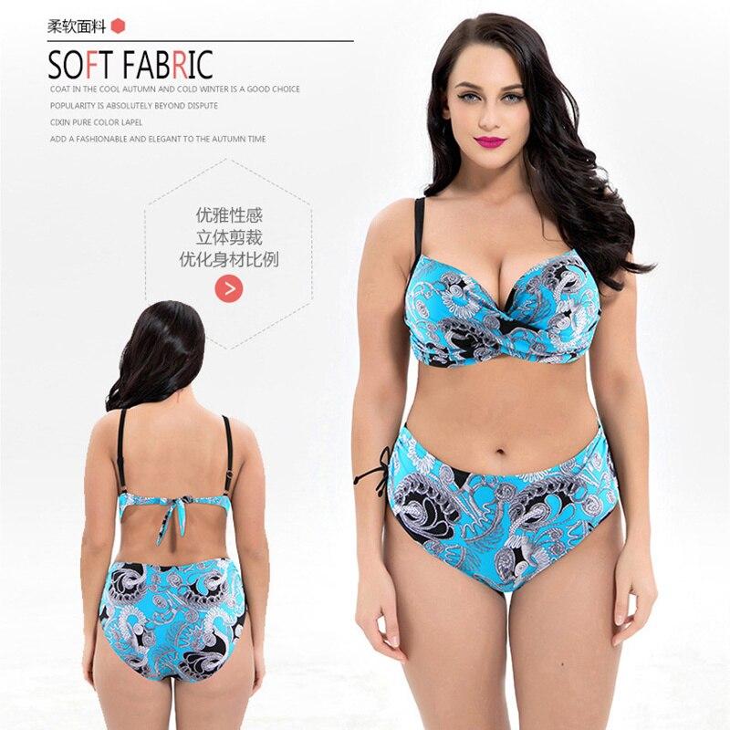 2020 Plus Size 5XL Swimwear Female Brazilian Bikini Set Push Up High Waist Bathing Suit Large Size 8XL Retro Bikinis Mujer