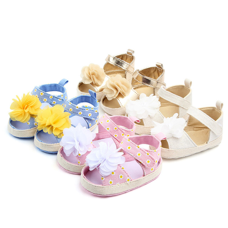 Fashion Big Flower Baby Girl Summer Shoes Soft Sole Toddler Infant Shoes For Girls Newborn Baby Shoes Prewalkers F146