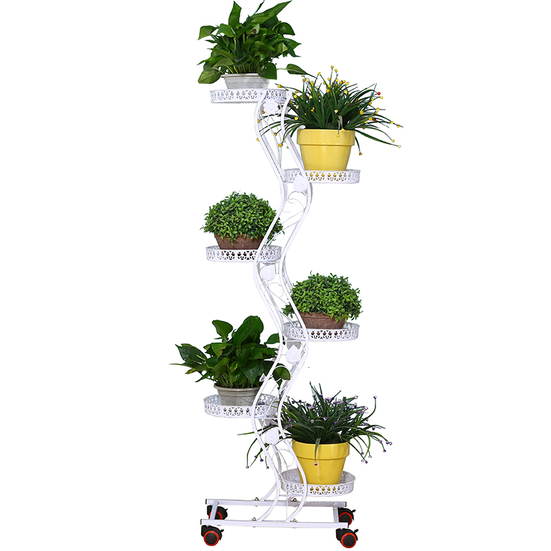 Iron Art Can Move Push Pull Belt Round Province Space Flower Rack Balcony A Living Room To Ground Green Luo Flowerpot Shelves