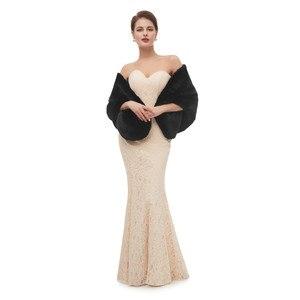 Image 3 - Nero Mantello Scialle Adulti Formale Giubbotti Cape Fourrure Coprispalle Per Le Donne di Inverno Vestito Da Cerimonia Nuziale Wrap Vestiti delle Donne Con La Del Capo 2020
