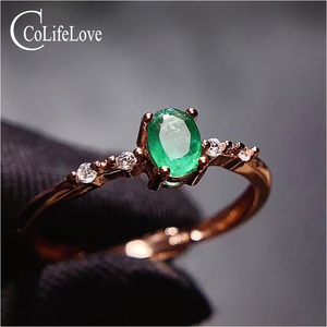 Image 2 - CoLife Jewelry Simple Silver Emerald Ring for Daily Wear 4*5mm Natural Emerald Engagement Ring 925 Silver Gemstone Ring