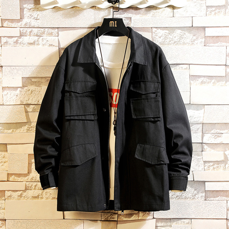 KOREA Design Style Bigger Pocket 2020 Spring Autumn Jacket Men Streetwear Bomber Clothes Plus Asian Size M-5XL