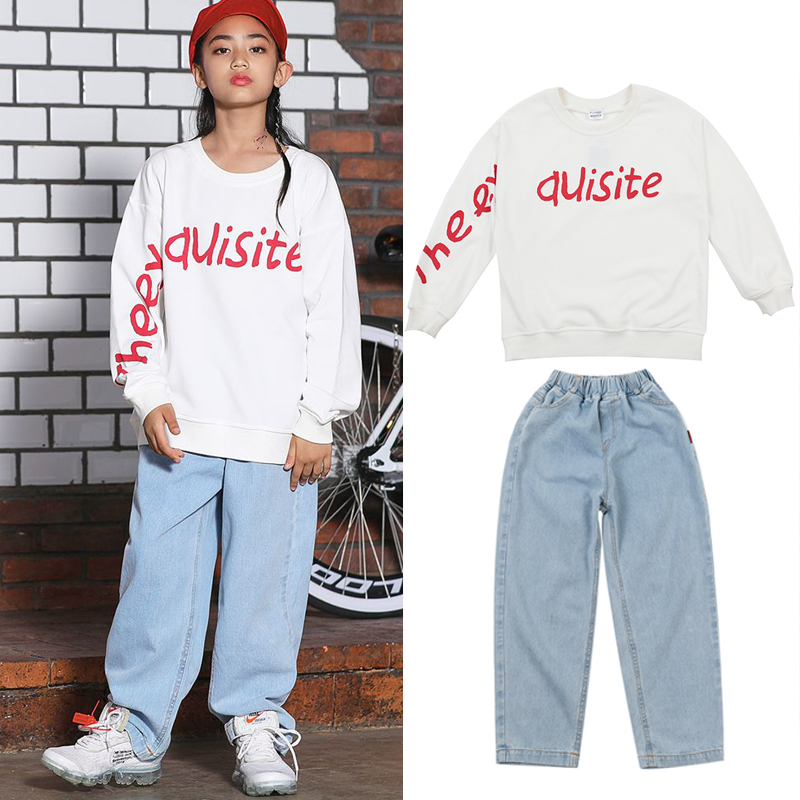 Children's Hip Hop Clothes  Jazz Dance Outfit Kids Stage Costume Hip Hop Sweater Girl Clothing Hip Hop Ropa Street Wear BL3233