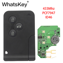 WhatsKey 5Pcs 433Mhz ID46 PCF7947 Chip with emergency small blade Smart Remote Car Key For Renault Megane Scenic card 2003-2008 free shipping best price 1pcs excellent quality 3 button smart card for renault megane scenic with 7947 chip 433mhz