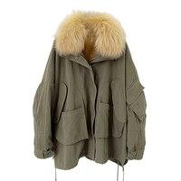 2019 парка зимняя куртка женская шуба из натурального меха енота меховой воротник Рекс кроличий мех внутри Верхняя одежда Съемная свободная
