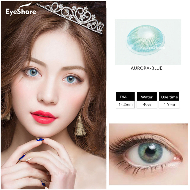 EYESHARE 1 Pair (2pcs)  Natural Crystal  Color Contact Lens for Eyes Cosmetic  Contact Lenses  Eye Color 4