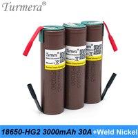 Turmera 2021 18650 HG2 3000mAh batteria 30A nichel per saldatura per 12V 14.4V 18V 21V 25V trapano elettrico cacciavite batterie uso