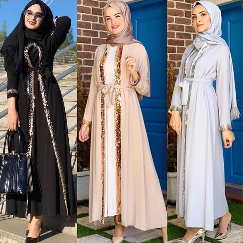 Shiny sequined beading kimono muslim Abaya Women Women's Abaya Women's Clothings Women's Dresses