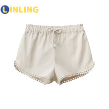 Girl's Shorts Linen Toddler Cotton Children Summer Fashion Solid LINLING P106 Trousers