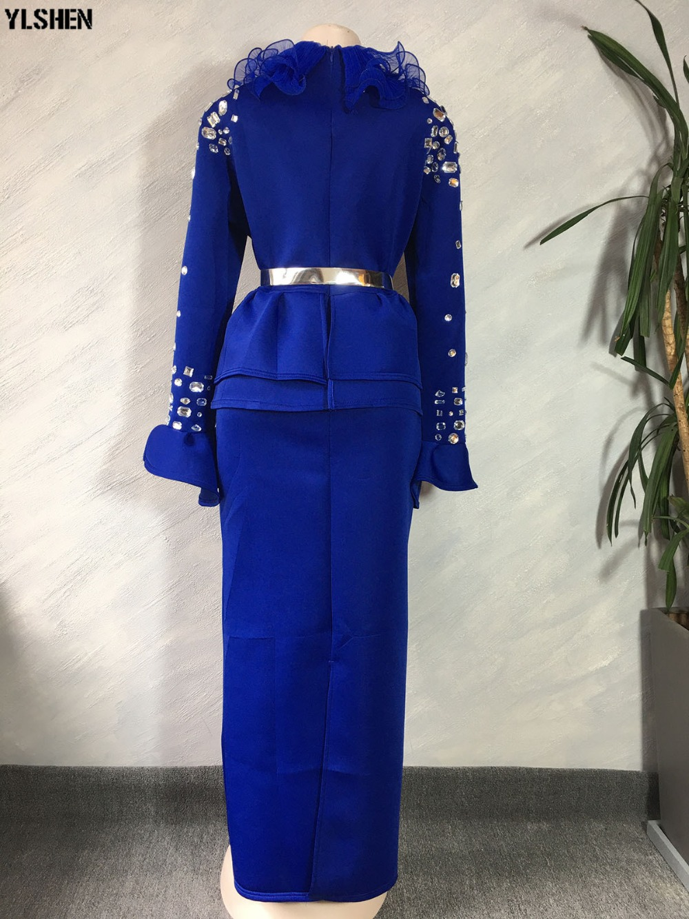 Length 150cm African Dresses for Women Dashiki Nail Bead African Clothes Space Layer African Gown Skirt Long Sleeve Africa Dress 19