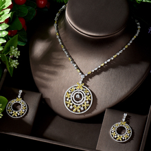 HIBRIDE Round Drop Yellow Wedding Bridal CZ Necklace and Earrings Jewelry Sets Luxury Dubai Jewellery Women Accessories N 1251